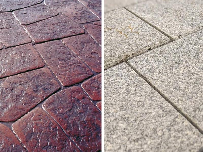 Bê tông áp khuôn (bên trái) và đá tự nhiên (bên phải)