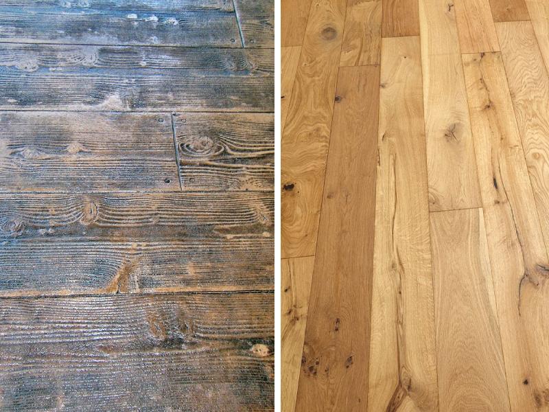 Bê tông áp khuôn (bên trái) và sàn gỗ tự nhiên