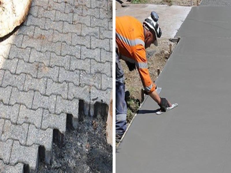Thi công gạch lát nền (bên trái) và thi công bê tông áp khuôn (bên phải)